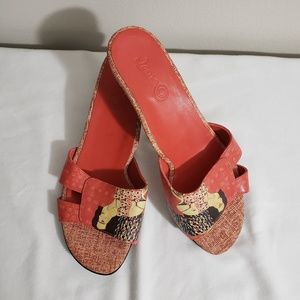 ICON Orange Slide Sandals Heels Size 7.5 M
